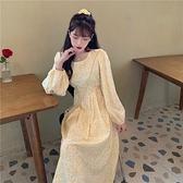 長袖連身裙女秋冬2020新款春秋季碎花法式氣質長裙收腰顯瘦裙子裝