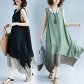 中大尺碼 無袖洋裝 2021夏裝胖女人遮肚子腰粗顯瘦連身裙大碼女裝減齡寬鬆無袖背心裙