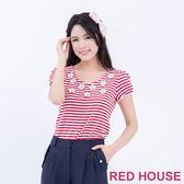 RED HOUSE-蕾赫斯-條紋花朵圓領上衣(共2色)