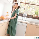 《DA5481》清新麻質面純色無袖寬鬆打褶洋裝 OrangeBear