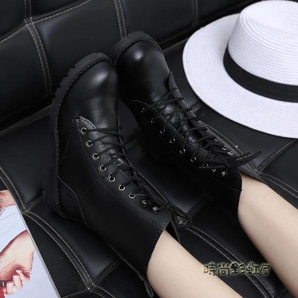 春秋女短靴表演軍靴中筒馬丁靴高筒英倫皮靴子休閒歐美機車靴大碼「時尚彩紅屋」