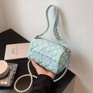 珍珠鍊條包包女夏季2021新款潮時尚網紅爆款斜背包菱格手提小方包 小天使