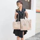 蕾絲包2019新款女包手提包購物袋鏤空沙灘包復古刺繡單肩包托特包  圖拉斯3C百貨