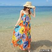連身裙.女夏裙子波西米亞海邊度假大碼胖mm沙灘裙雪紡連身裙修身顯瘦長裙..花戀小鋪