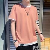 男士短袖t恤夏季新款韓版潮流寬鬆上衣服假兩件潮牌體恤男裝 「錢夫人小鋪」