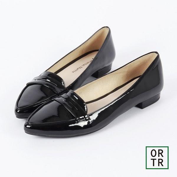 【ORiental TRaffic】知性風微尖楦低跟便鞋-黑