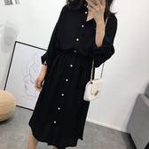 舒適繫帶長版襯衫洋裝 CC KOREA ~ Q17599