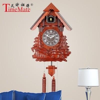 實木雕刻布谷鳥掛鐘客廳鐘美式風格紅木色電子擺鐘201