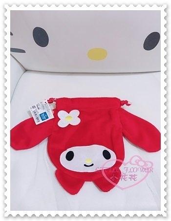 ♥小花花日本精品♥Hello Kitty 美樂蒂Melody束口袋縮口袋置物袋收納袋紅色大臉絨毛 67811205
