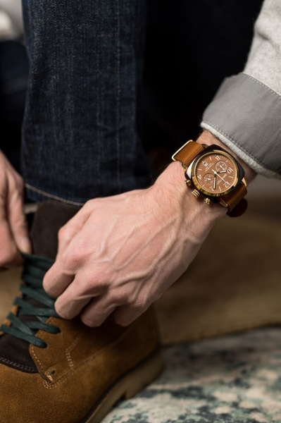 BRISTON 手工方糖錶 焦糖色 金框 時尚百搭 禮物首選