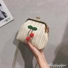 草編包包女包新款潮韓版可愛側背包錬條斜背包少女編織包 黛尼時尚精品