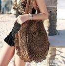 韓國版人氣花朵般手工編織單肩包包2色特 【全館免運】