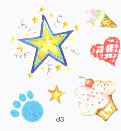 薇嘉雅 星星 甜筒 蝴蝶 超炫圖案紋身貼紙 d3