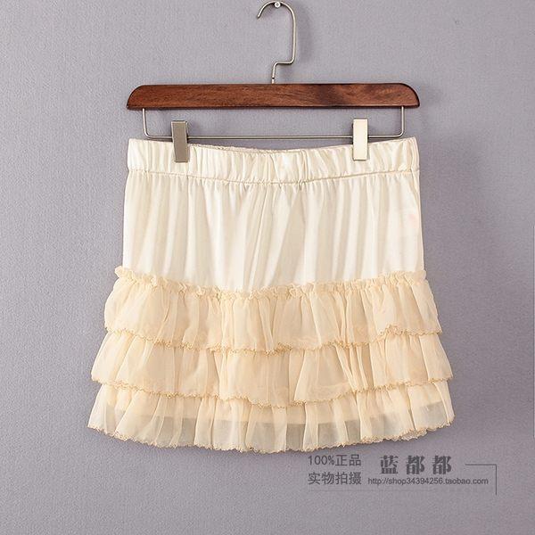 [超豐國際]拉春秋裝女裝米色短款日系可愛打底半身裙子 011(1入)