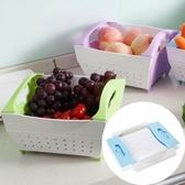 可摺疊水果籃塑料洗菜籃瀝水籃果盆果盤果籃多功能洗菜盆洗菜籃子     汪喵百貨