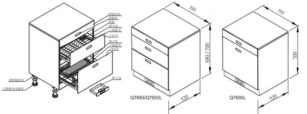 【fami】櫻花 烘碗機 落地式 Q7693L (高70CM) 全平面玻璃觸控落地式烘碗機