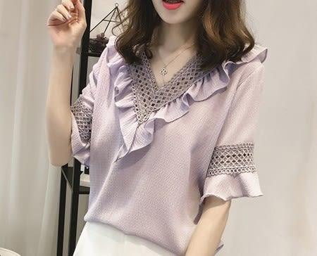 EASON SHOP(GU5530)大碼女裝蕾絲鏤空木耳邊拼接V領荷葉邊袖雪紡衫短袖襯衫女上衣服韓版五分袖