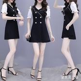 2020年新款女夏季赫本風套裝 輕熟風黑白拼接連身裙 短褲兩件套潮 FX8246 【寶貝兒童裝】