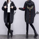 歐洲站秋裝針織毛衣外套女中長款正韓刺繡針織開衫潮 新年免運特惠