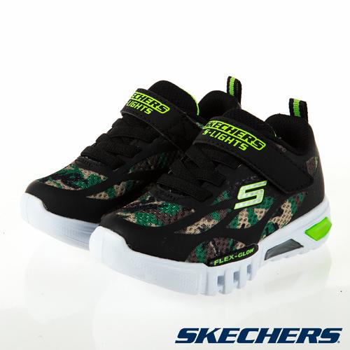 SKECHERS FLEX GLOW 迷彩黑 燈鞋 魔鬼氈 運動鞋 小童鞋 NO.R5442