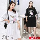 寬鬆可愛獨角獸圖案短袖連衣裙 M-XL O-ker歐珂兒 165159