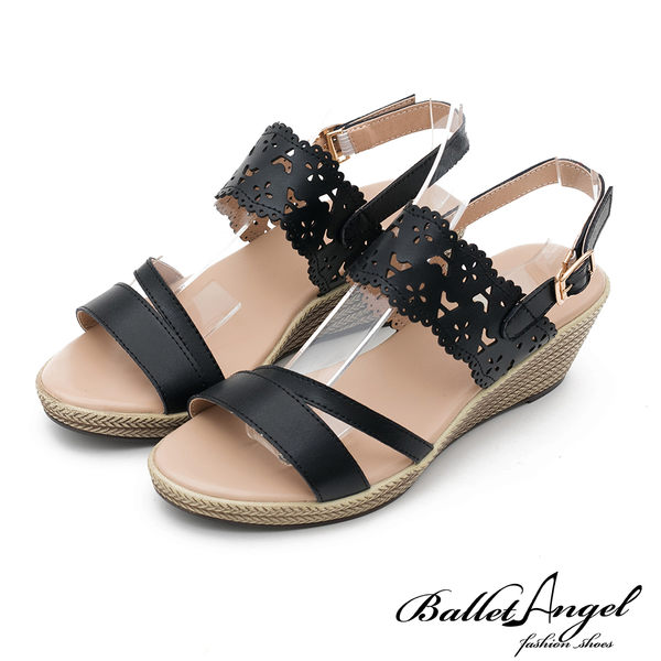 楔型涼鞋 戀夏時光雕花真皮楔型涼鞋(黑)*BalletAngel【18-758bk】【現貨】