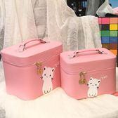 化妝包小號便攜專業手提大容量可愛方形化妝箱簡約旅行防水收納包