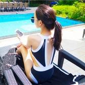 連身泳衣 歐美風情高領連體性感三角露背腰女王范比基尼拼色溫泉保守 - 古梵希
