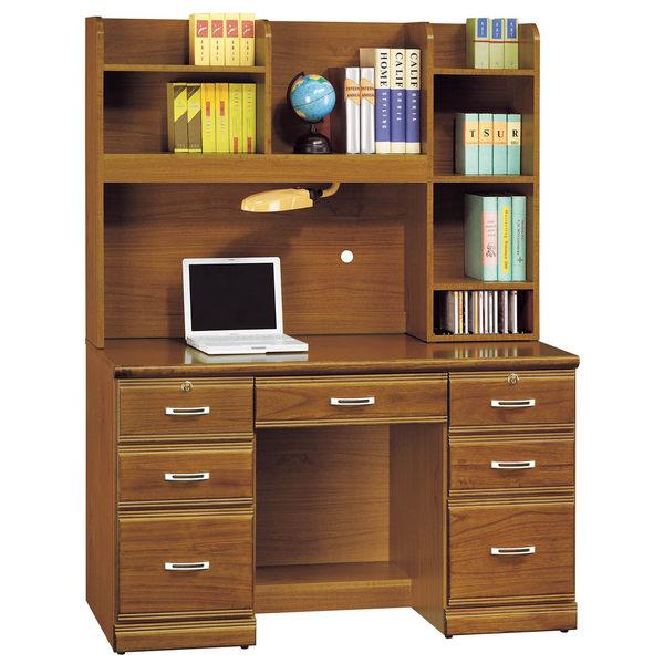 【森可家居】樟木實木4.2尺書桌組 7SB294-3 多抽屜型 學生 學習
