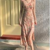 碎花洋裝 開叉碎花吊帶仙女裙夏季性感氣質雪紡v領連身裙高腰顯瘦法式長裙-Ballet朵朵