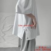 男士半袖衣服IG潮流五分袖港風短袖潮牌寬松純色t恤【西語99】