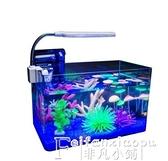 魚缸透明熱彎長方形玻璃金魚缸烏龜缸中小型辦公桌水族箱造景魚缸LX 非凡小鋪