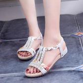 韓版時尚涼鞋韓版平底鞋水鑽軟底防滑休閒鞋女鞋