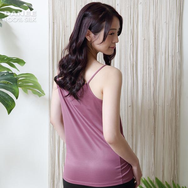 【岱妮蠶絲】透氣舒適女蠶絲鳳眼細肩帶背心小可愛(葡紫)