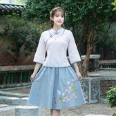短袖裙裝 民國風學生文藝復古盤扣修身繡花上衣襯衣半身裙套裝女