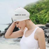 高彈長髮可用素色字母硅膠泳帽男女款白色潛水游泳帽 曼莎時尚
