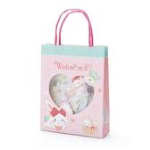 小禮堂 許願兔 日製 手提紙袋造型貼紙組 手帳貼紙 卡片貼紙 裝飾貼紙 (粉綠) 4550337-95050