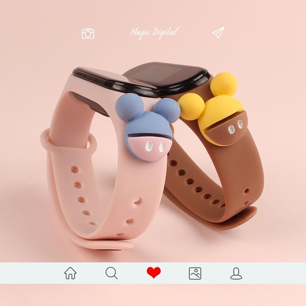 小米手環3/4/5腕帶卡通定制款運動替換表帶2代男女智能個性三四五 霓裳細軟