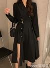 西裝裙 秋裝2020新款黑色西裝領設計感小眾長裙收腰顯瘦氣質連身裙女神范 coco