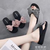 韓版時尚外穿人字拖女夏甜美蝴蝶結中坡跟厚底海邊夾腳沙灘涼拖鞋 可可鞋櫃