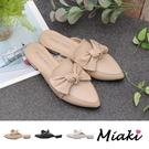 穆勒鞋-可愛蝴蝶結低跟尖頭鞋