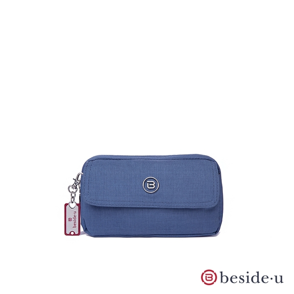 beside u BNUA 單寧磁扣多功能長短夾零錢包手拿包側背包腰包多用途包 – 藍色 原廠公司貨