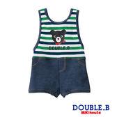 DOUBLE_B        日本製 抗UV 普奇熊條紋牛仔風連身泳裝