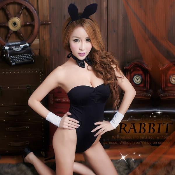 情趣用品  (任選2件990元) 變裝派對   狂野兔女郎角色扮演 激黑美背惹火連身衣