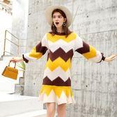 孕婦洋裝秋裝上衣中長款針織毛衫時尚荷葉邊條紋長袖孕婦洋裝秋冬 果寶時尚