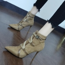 裸靴 英倫個性交叉綁帶馬丁靴女2020秋冬新款性感尖頭細跟百搭高跟短靴 降價兩天