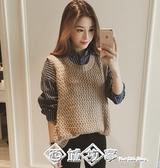 春秋季女士韓版寬鬆休閒學院風無袖毛衣背心馬甲女針織衫套頭外搭