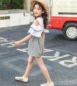 夏季女童衣服 2019韓版童裝 女童夏季新品 中大童兒童蝴蝶結套裝 格子短褲兩件套
