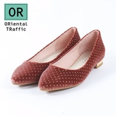 【ORiental TRaffic】俏皮點點絲絨平底鞋-俏皮咖