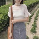 「現貨」新款韓版透視雪紡喇叭袖罩衫+吊帶...